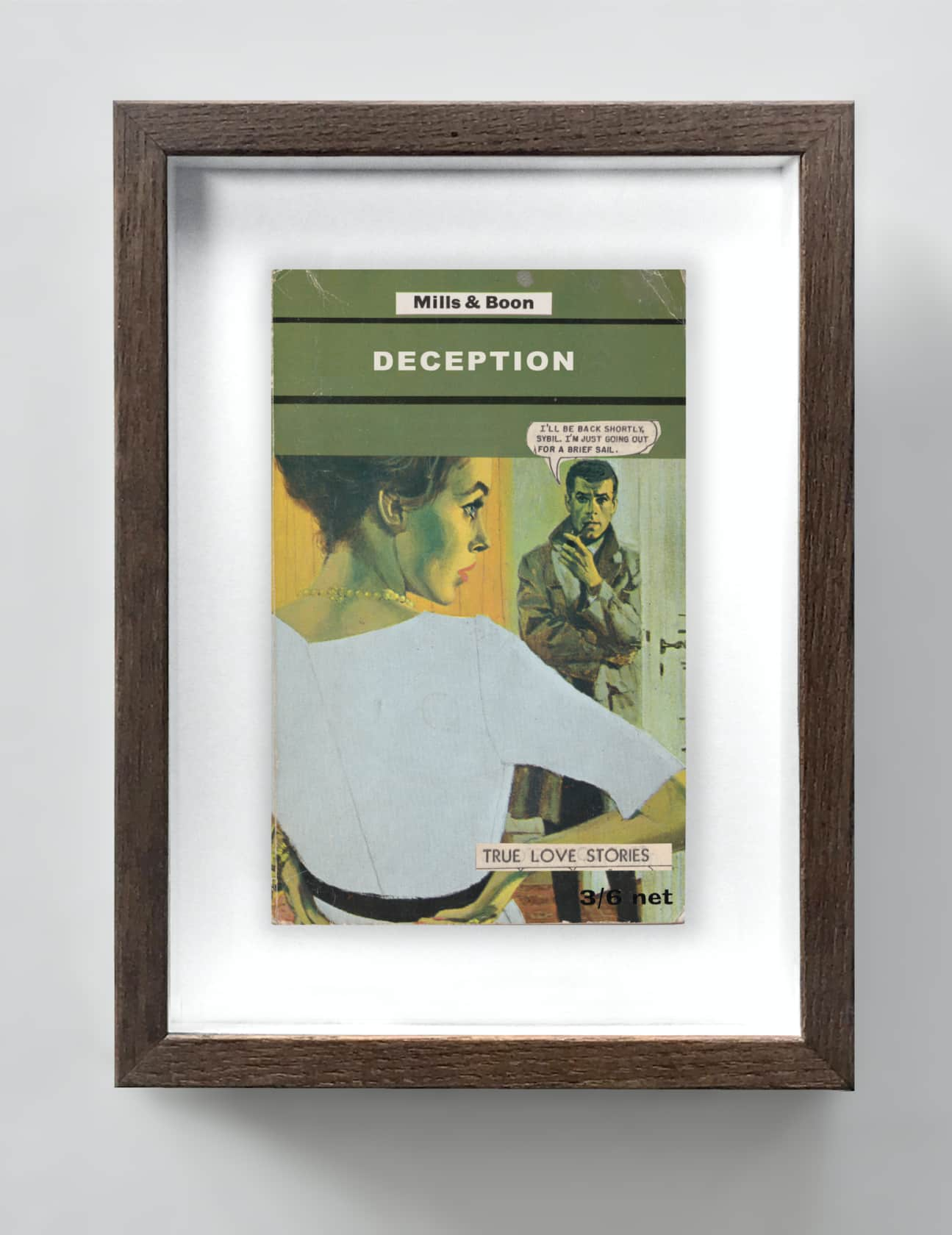 the connor brothers Deception Collage on vintage paperback book