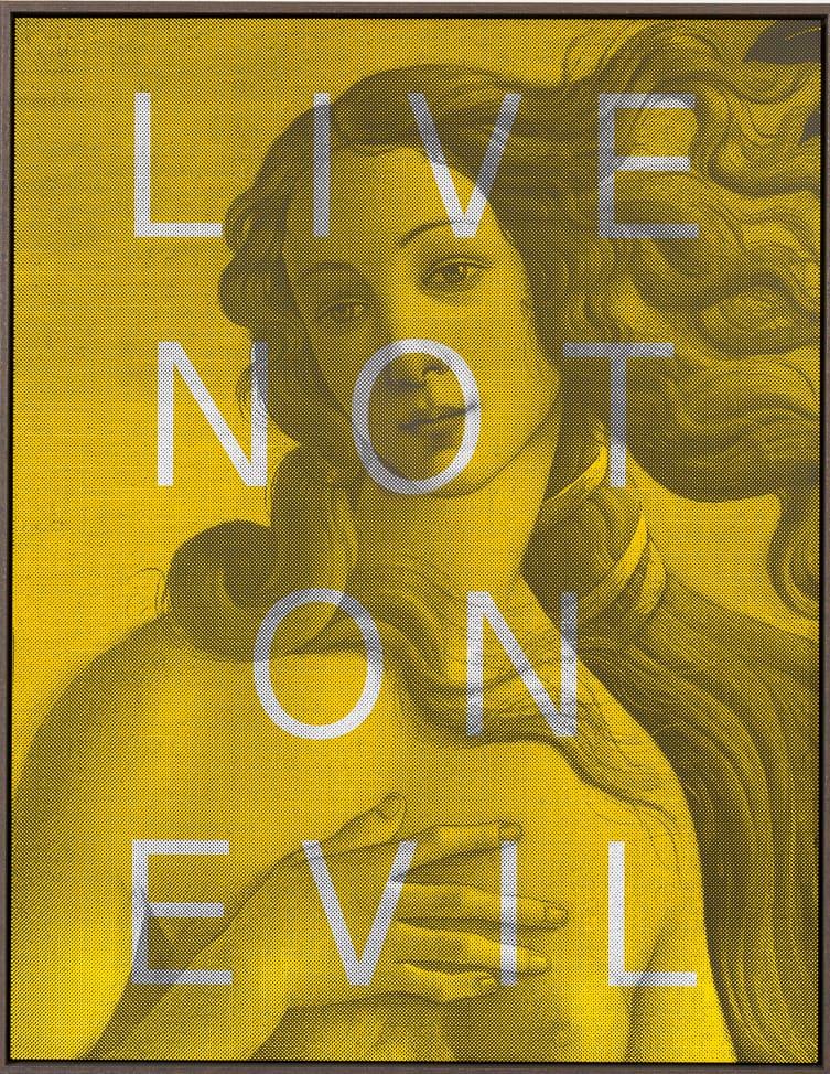 Massimo Agostinelli Live Not On Evil Matt ink on Vinyl and Acrylic Mirror