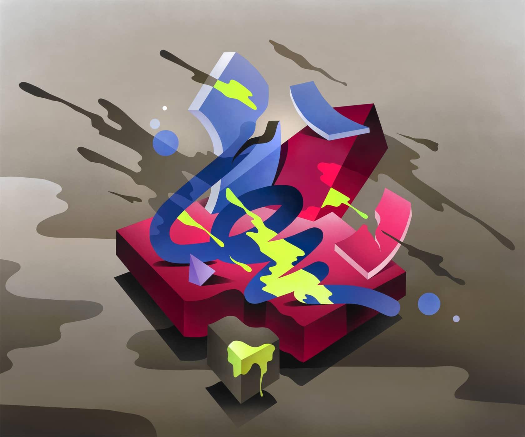 Mikael B Swing Symphony #3 Spray Paint on Canvas