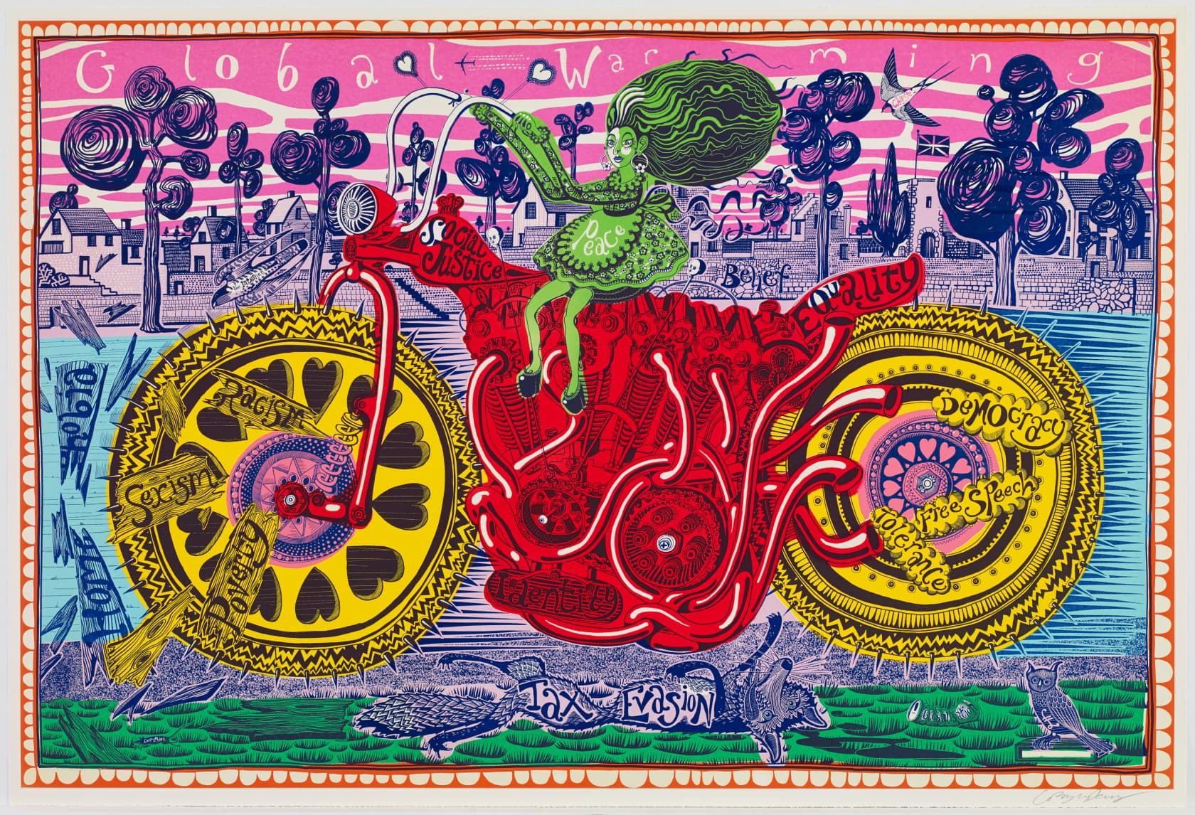 Grayson Perry Selfie with Political Causes Colour woodcut