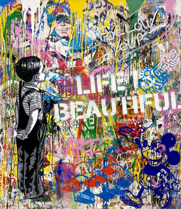 Mr Brainwash With All My Love (Neon) Neon Lightbulb and Mixed Media on Canvas in Plexiglass Box