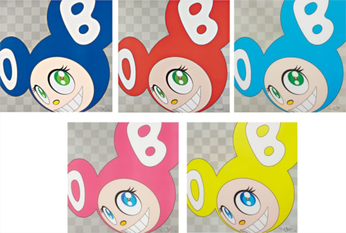 Takashi Murakami And Then and Then and Then and Then and Then Five Offset Lithographs in Colours
