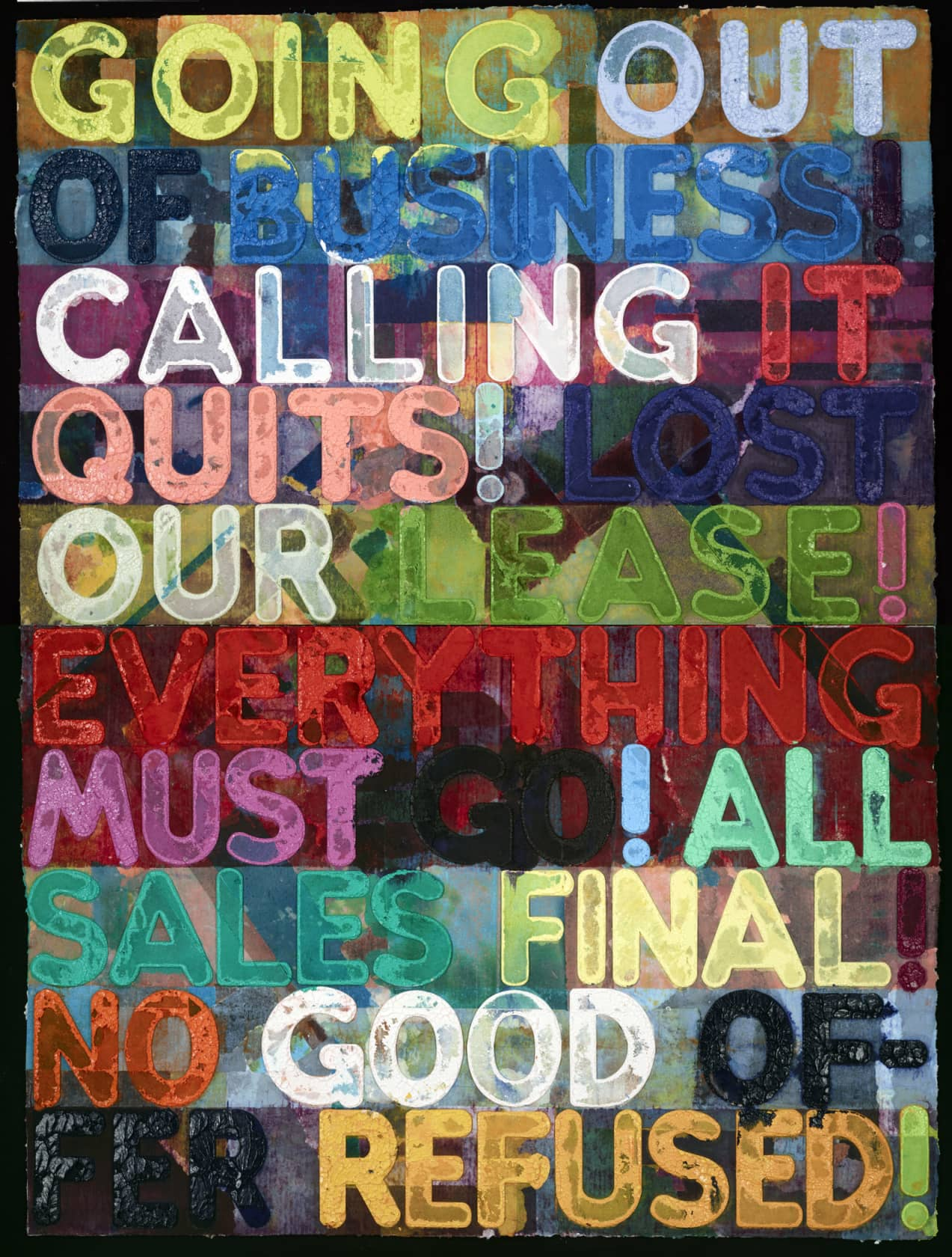 Mel Bochner Going Out of Business Monoprint in Oil with Engraving and Embossment