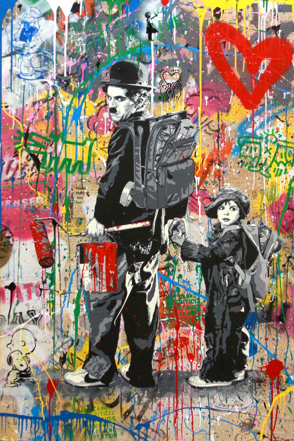 Mr Brainwash Chaplin & Kid Silkscreen and Mixed Media on Canvas