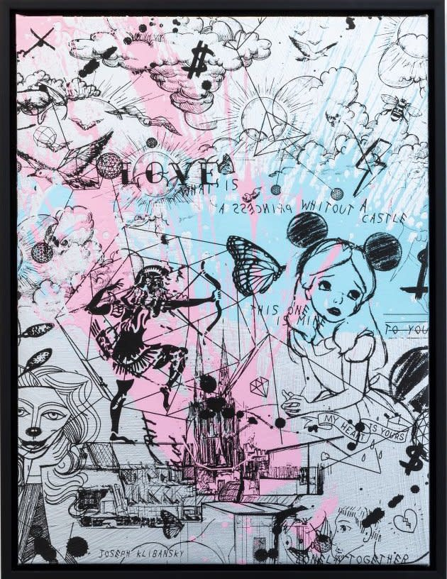 Joseph Klibansky Behind the Clouds Silver/Black and Pink and Light Blue Splash Silkscreen and Acrylic on Canvas