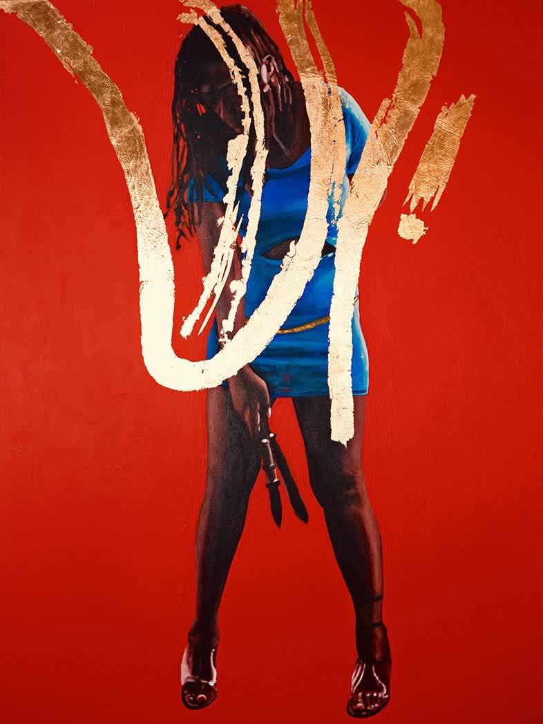 Dawn Okoro Francine Acrylic and Copper Leaf on Canvas