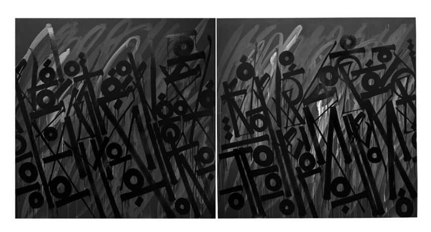 Retna Birds Of A Feather (Diptych) Acrylic on Canvas