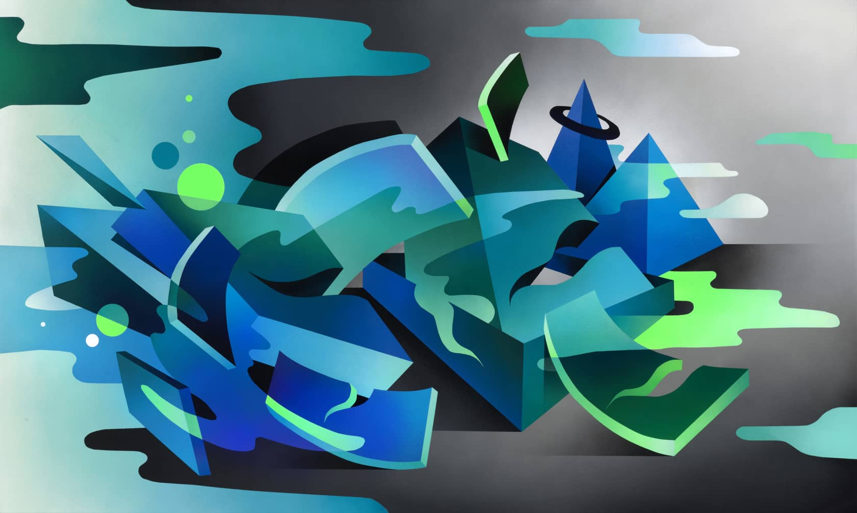 Mikael B Cloud Surfing Spray Paint on Canvas