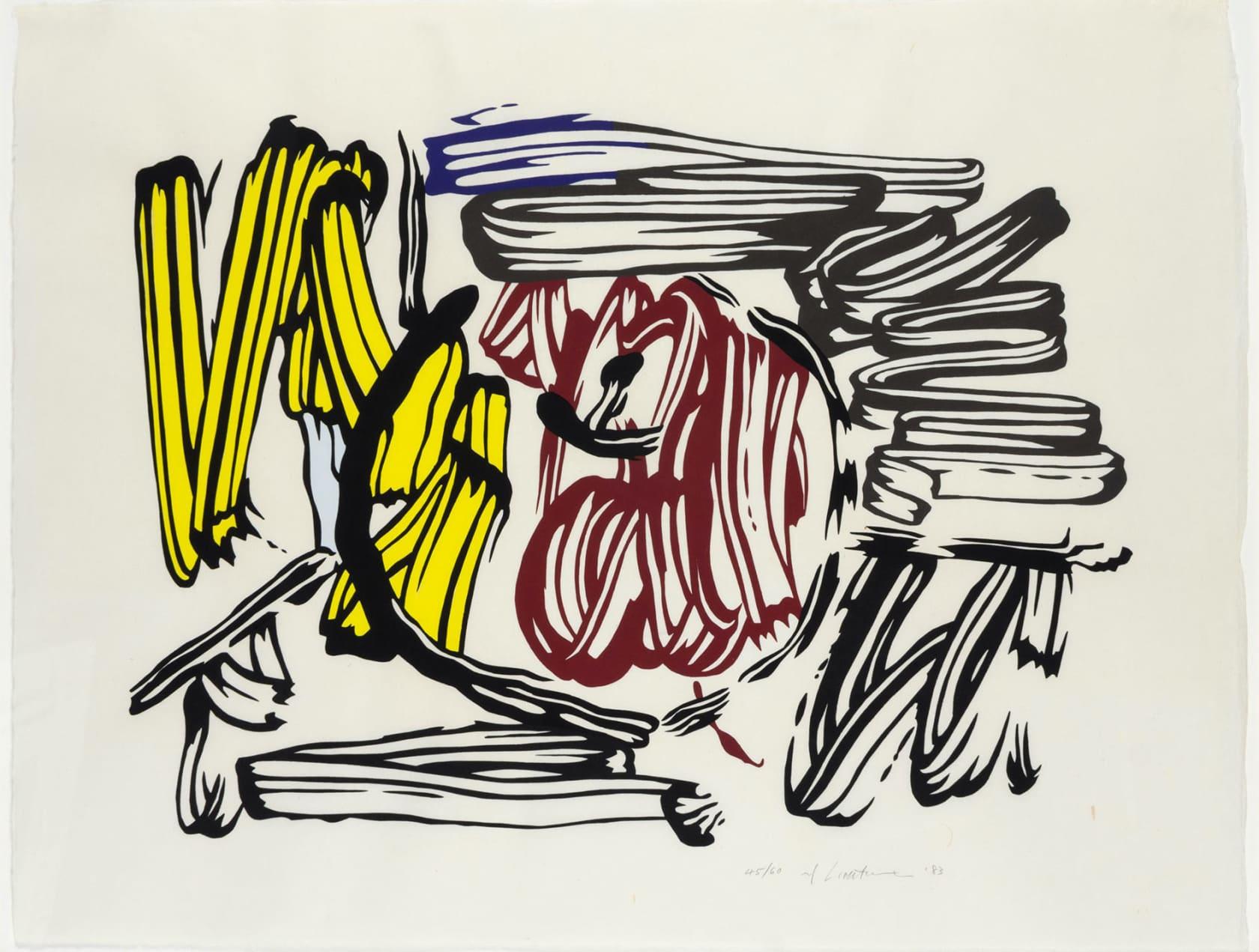 Roy Lichtenstein Red & Yellow Apple Woodcut on Handmade Iwano Kizuki Hosho Paper