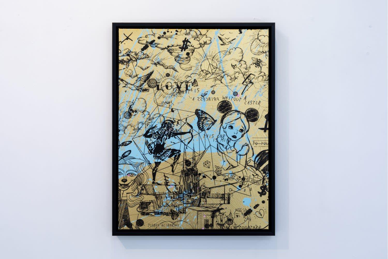 Joseph Klibansky Behind the Clouds Gold/Black and Light Blue Splash Silkscreen and Acrylic on Canvas