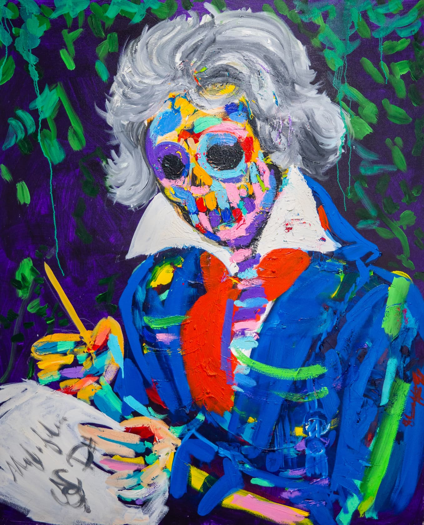 Bradley Theodore Beethoven's Skull Oil on Canvas