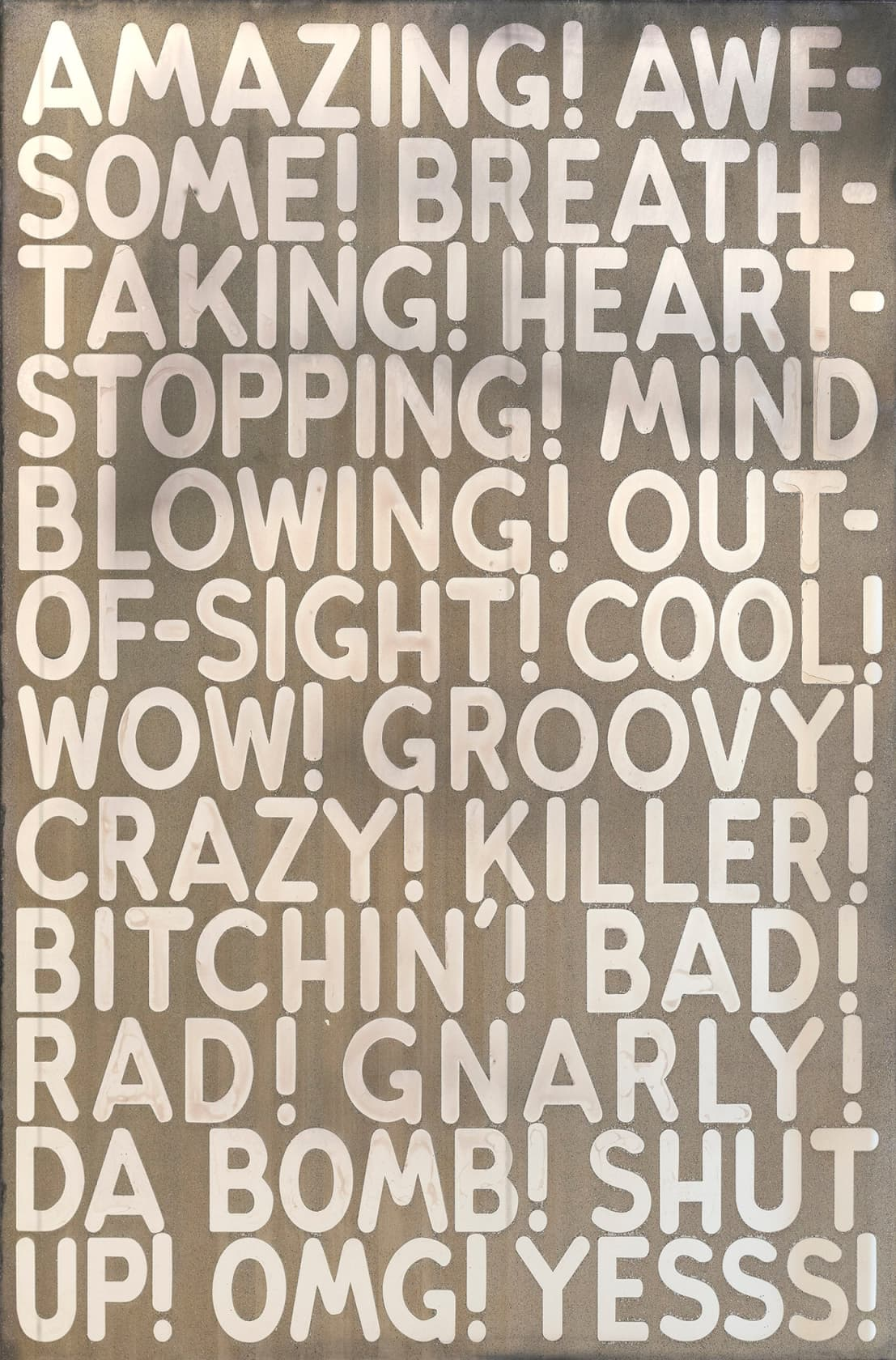 Mel Bochner Amazing Etched and silvered glass