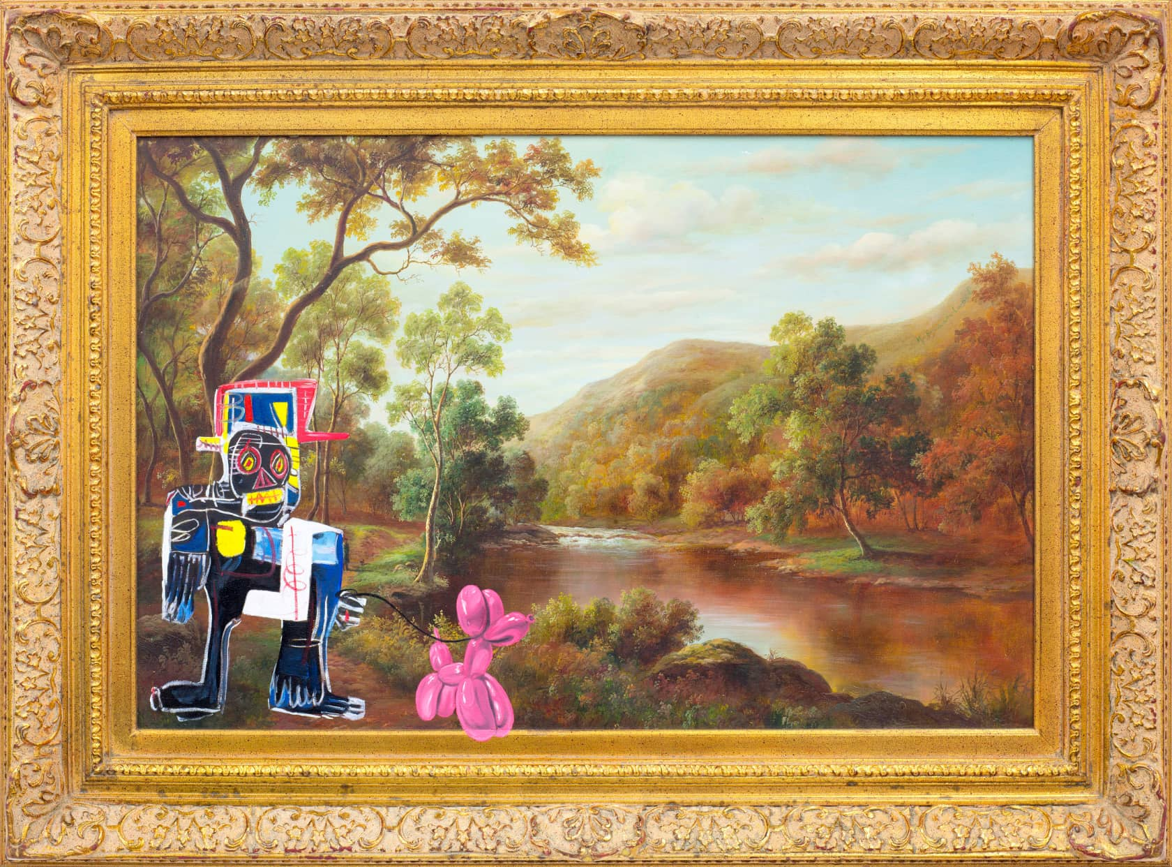 Mr Brainwash Basqkoon in the Country Oil On Canvas