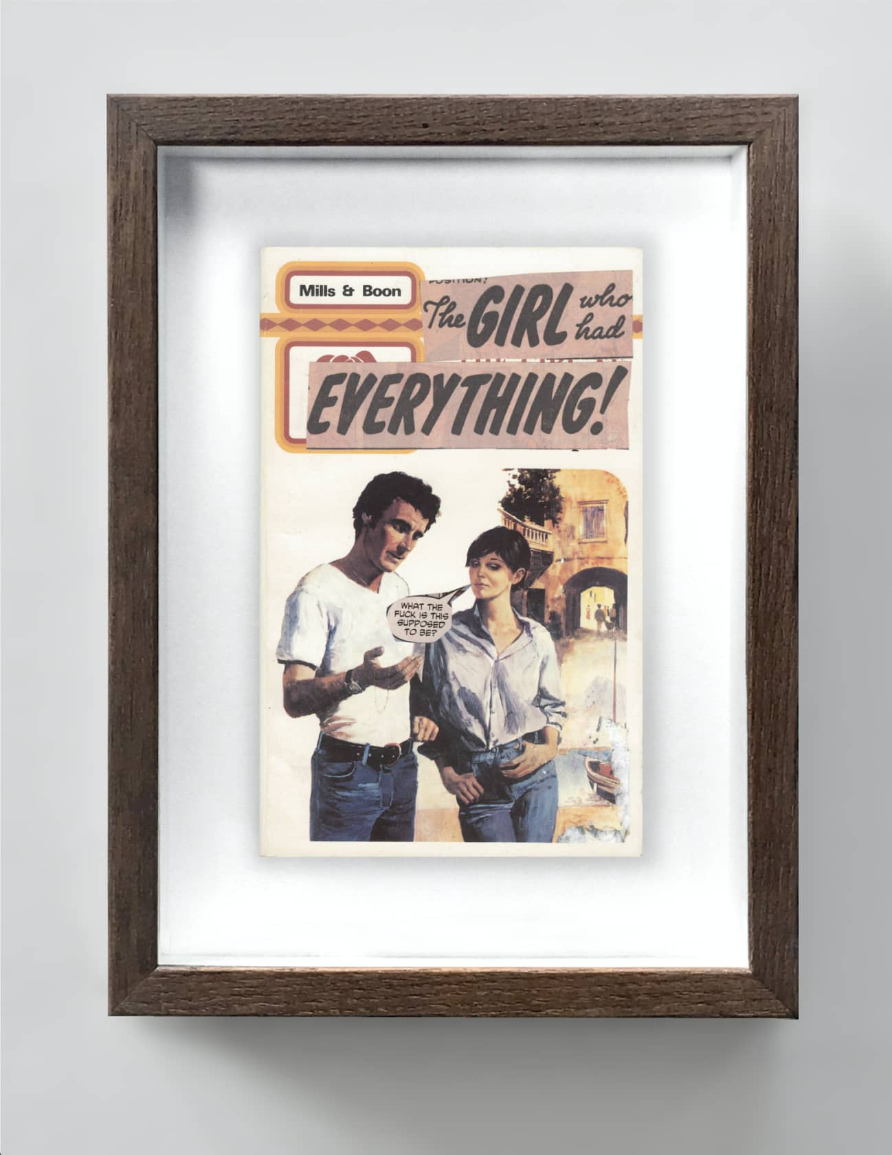 the connor brothers The Girl Who Had Everything Collage on vintage paperback book