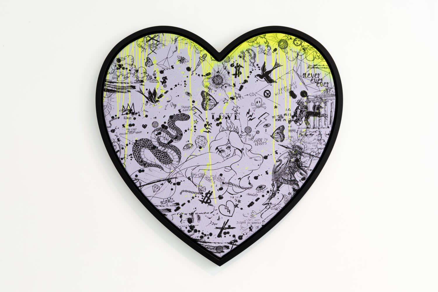 Joseph Klibansky She Came To Break hearts Lilac/Black and Fluorescent Yellow Drips Silkscreen and Acrylic on Canvas