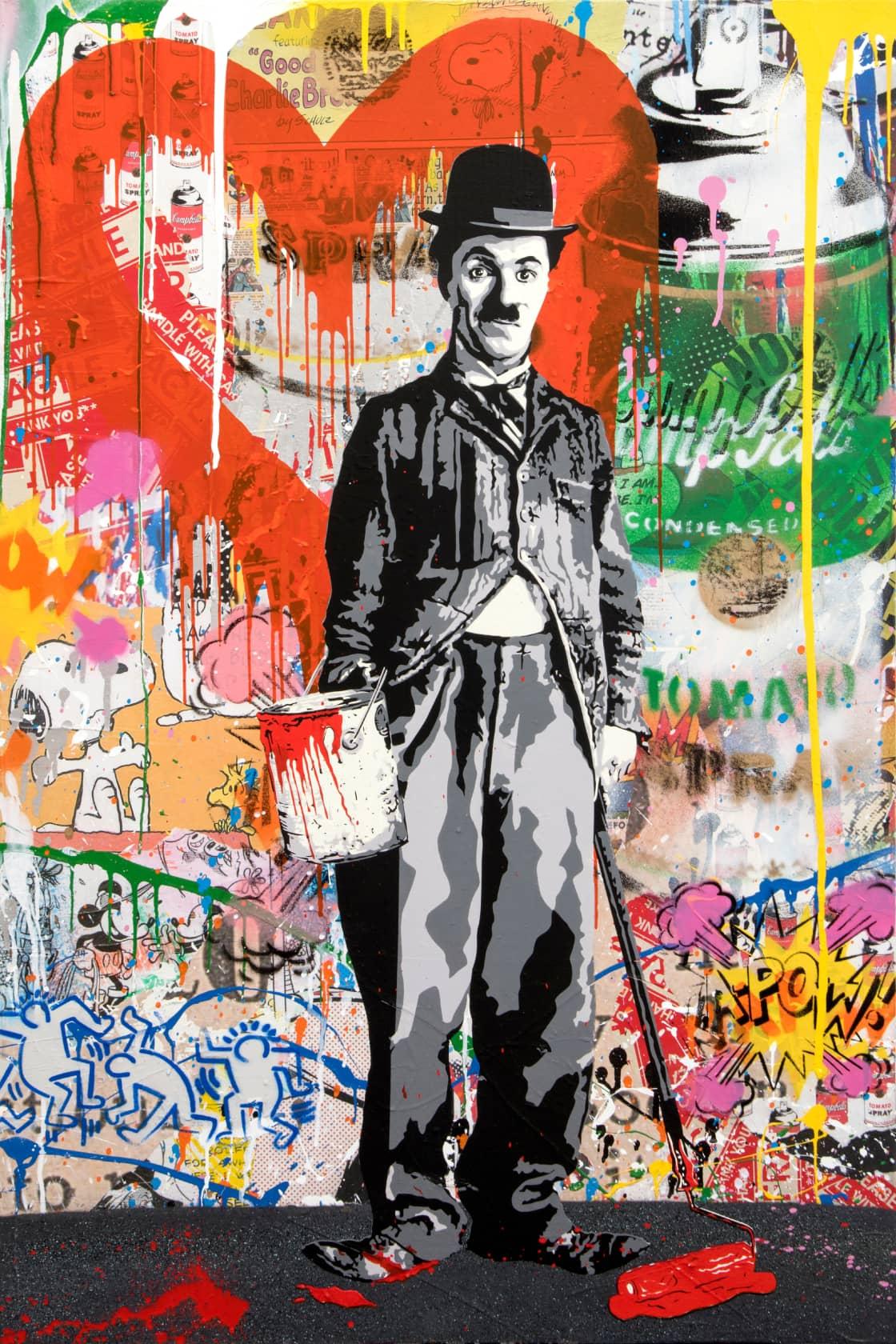 Mr Brainwash Chaplin Silkscreen and Mixed Media on Canvas