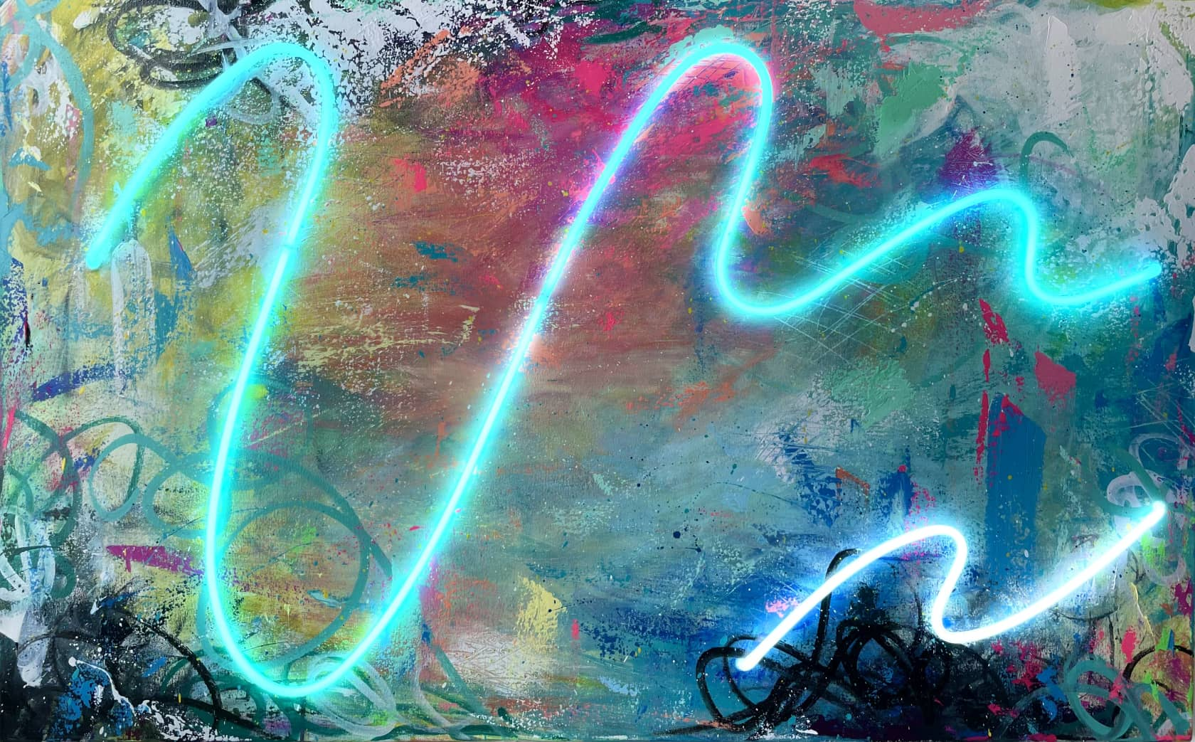 Sean Crim Beauty in Chaos 6 Acrylic and neon on canvas