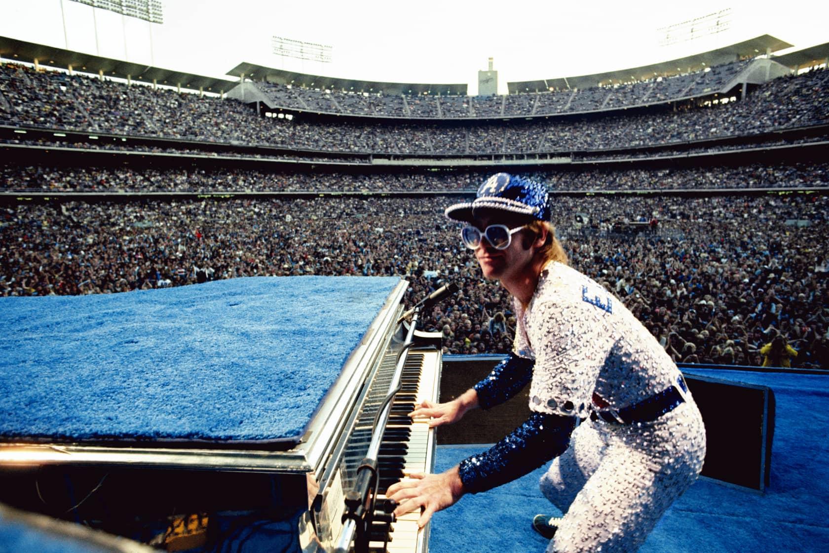 Terry O'Neill, Elton John, Dodgers Stadium - Colour, 1975