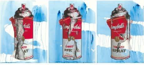 Mr Brainwash Torn Spray Can Set (Blue) Silkscreen and Watercolour on Paper
