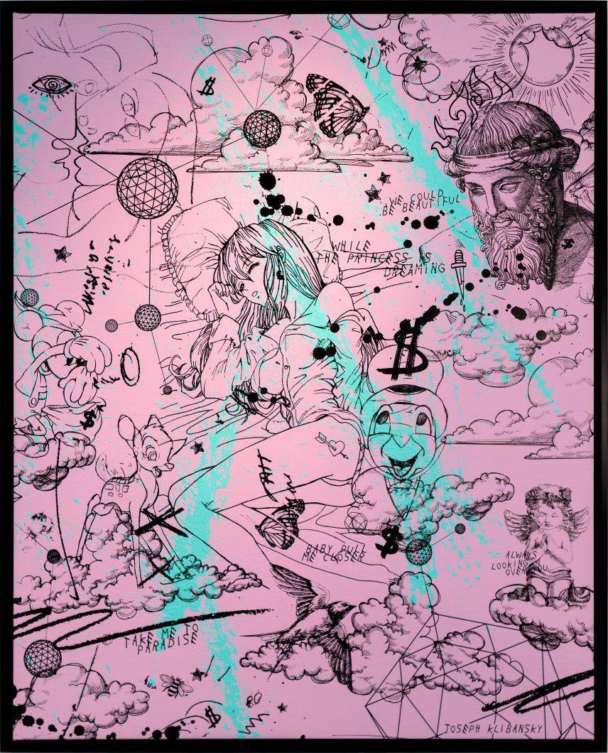 Joseph Klibansky Take Me to Paradise - Pink Silkscreen and Acrylics on Canvas