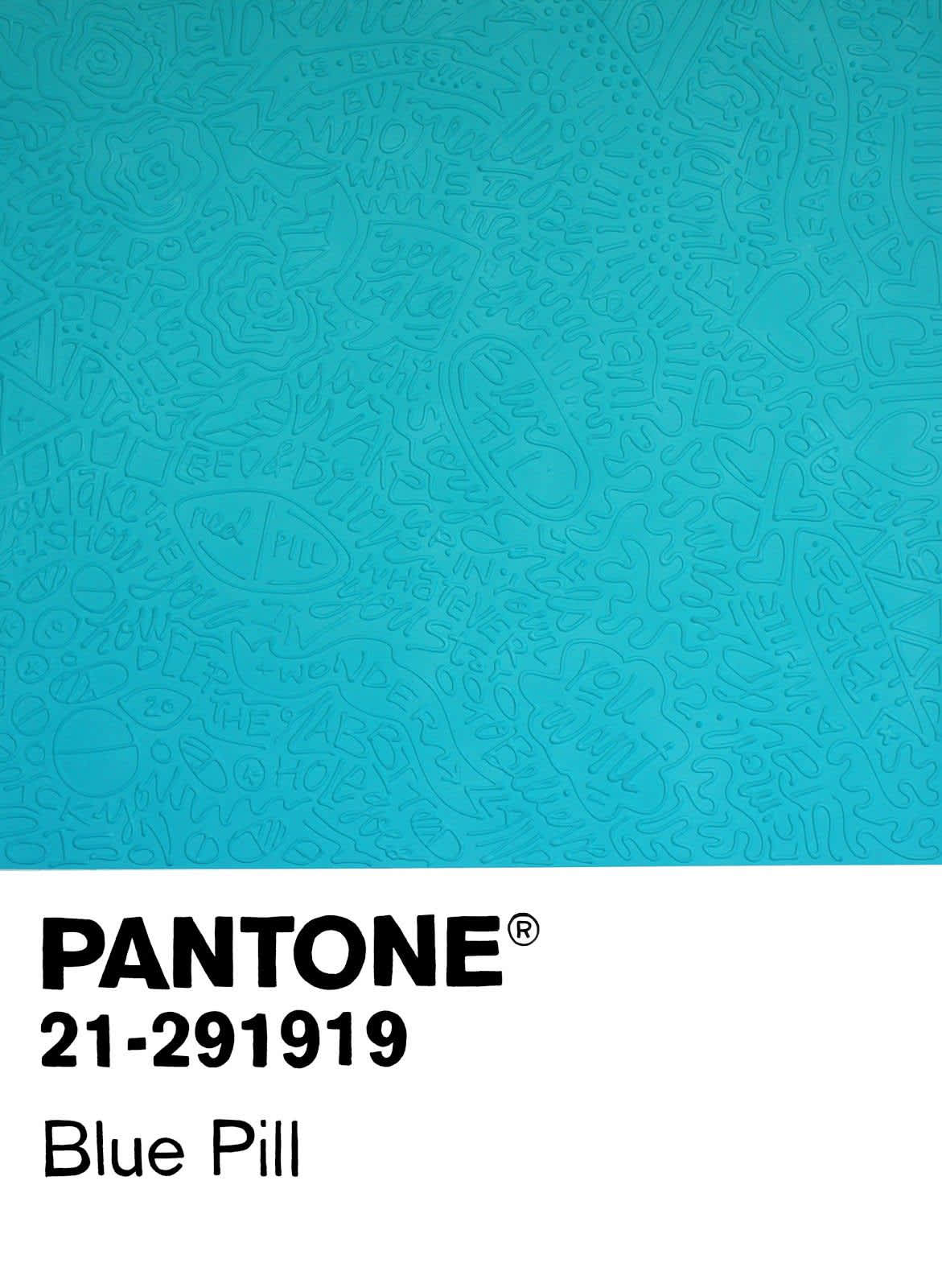 Cayla Birk Birktone Series: Blue Pill (Pantone 21-291919) Acrylic Spray Paint and Silicone on Canvas