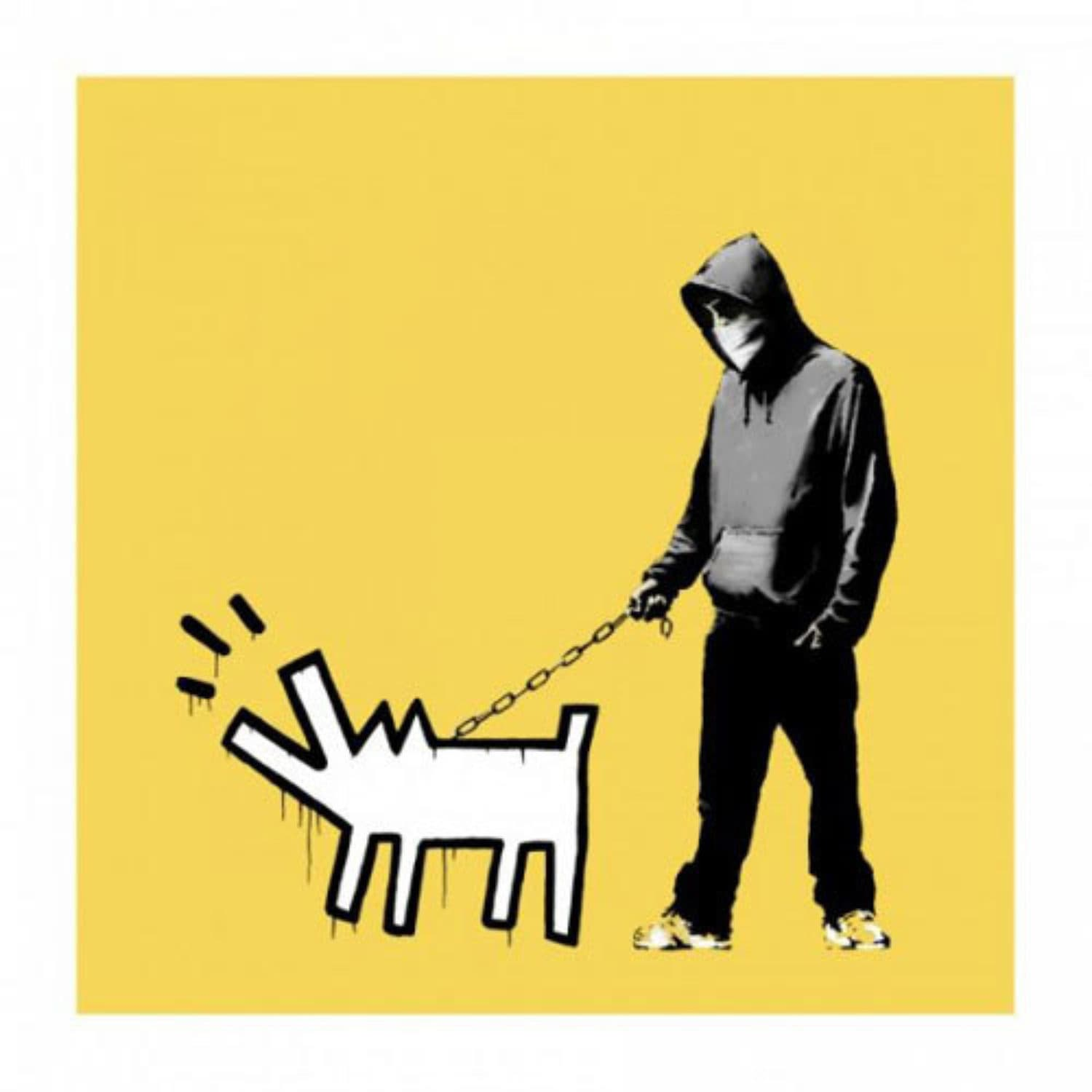 Banksy Choose Your Weapon - soft yellow (signed) Signed screenprint with hand annotations