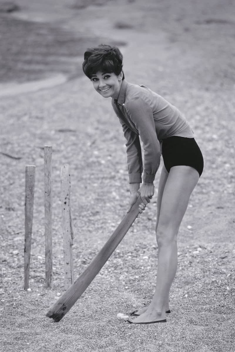 Terry O'Neill Audrey Hepburn Plays Cricket, South of France Lifetime Gelatin Silver Print