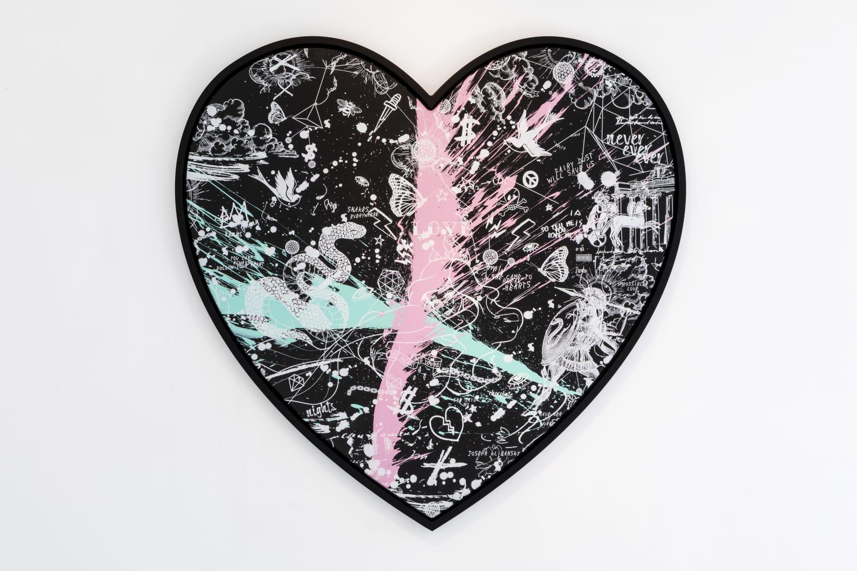 Joseph Klibansky, She Came to Break Hearts (Black/White, Pastel Pink and Turquoise Splash), 2020