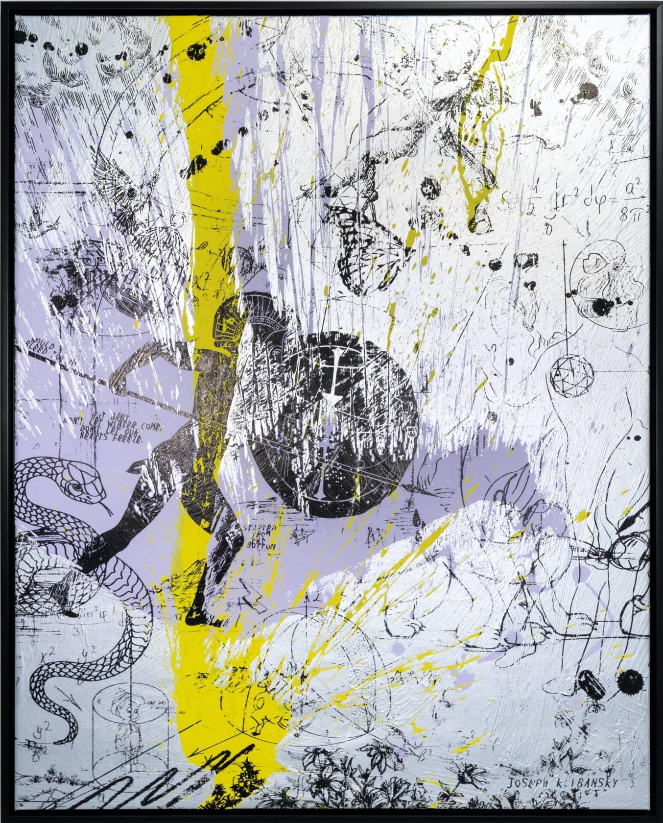 Joseph Klibansky, Forever Mine (Silver/Black, Lilac and Yellow Splash), 2020, 2021