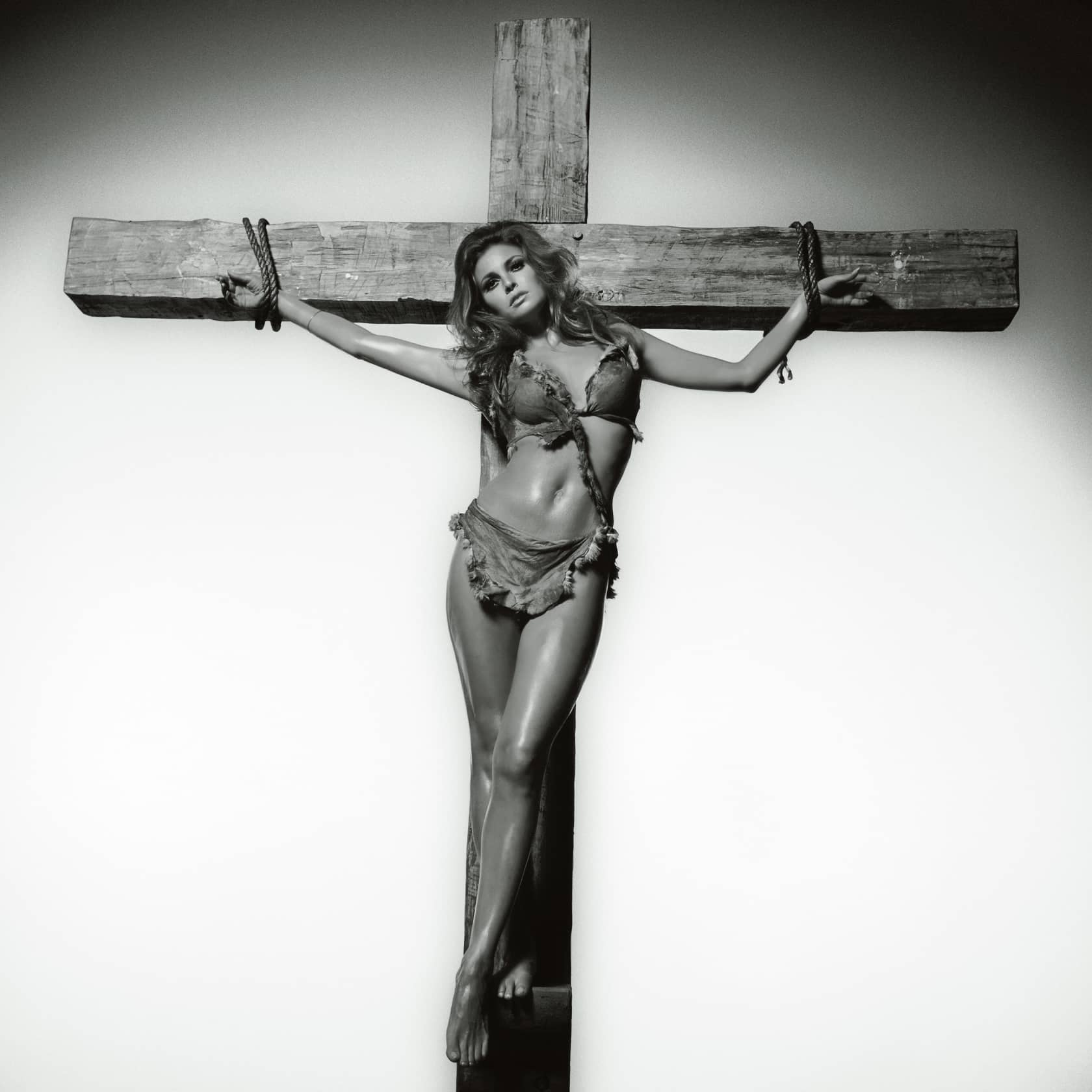 Terry O'Neill Raquel Welch on the Cross Lifetime Gelatin Silver Print