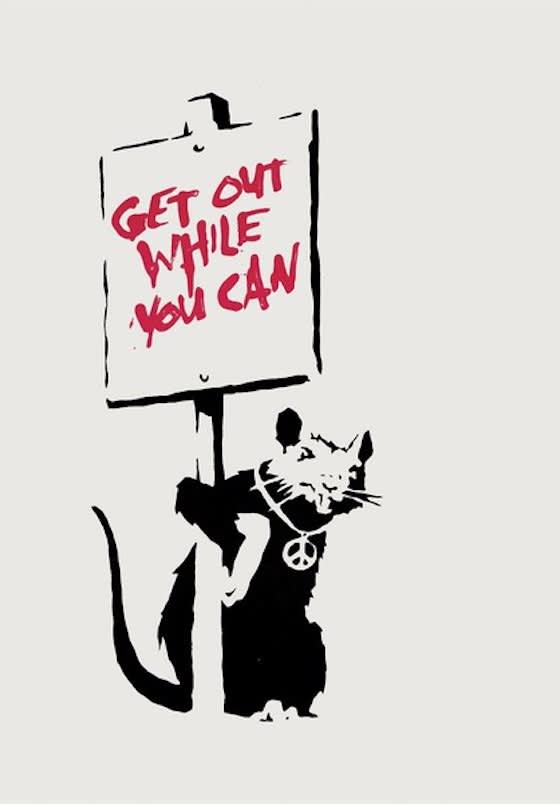Banksy, Get Out While You Can (Signed), 2004
