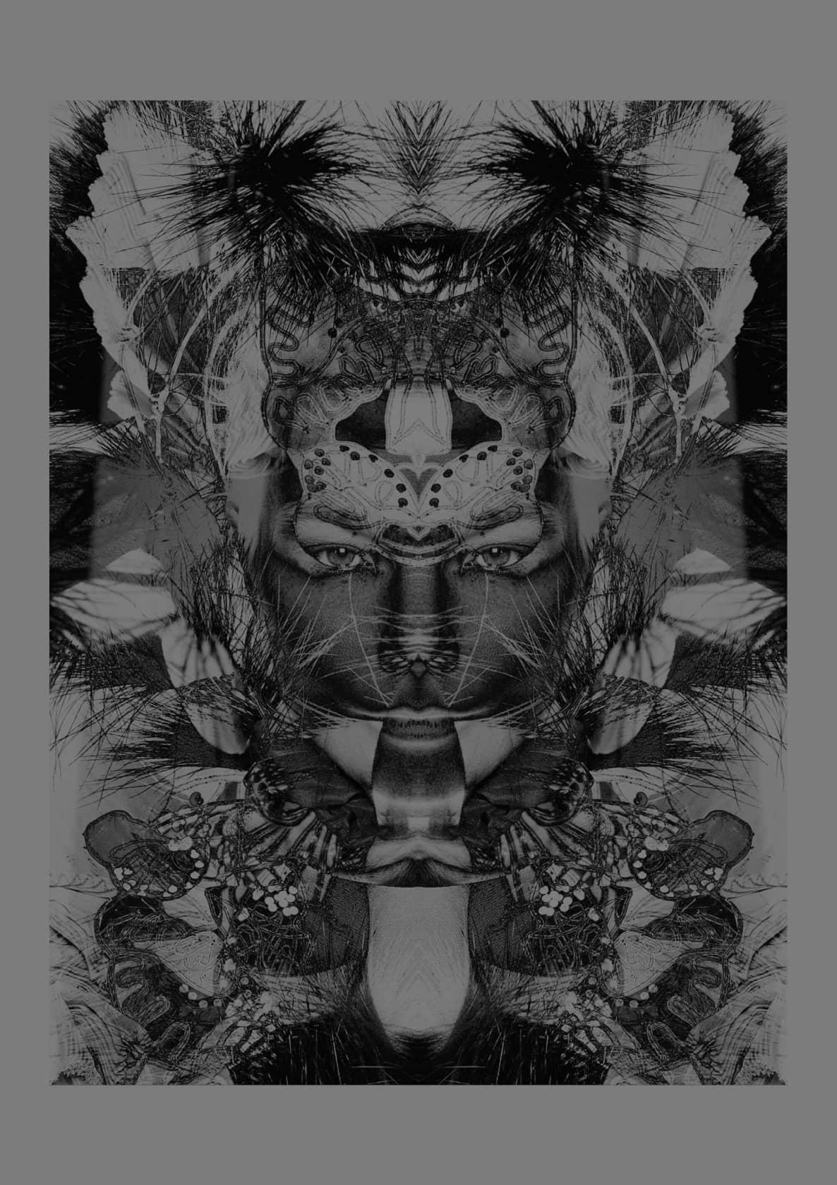 WARREN DU PREEZ & NICK THORNTON JONES & BJÖRK HAECKEL 2 colour black and gold glitter screenprint onto G.F Smith...