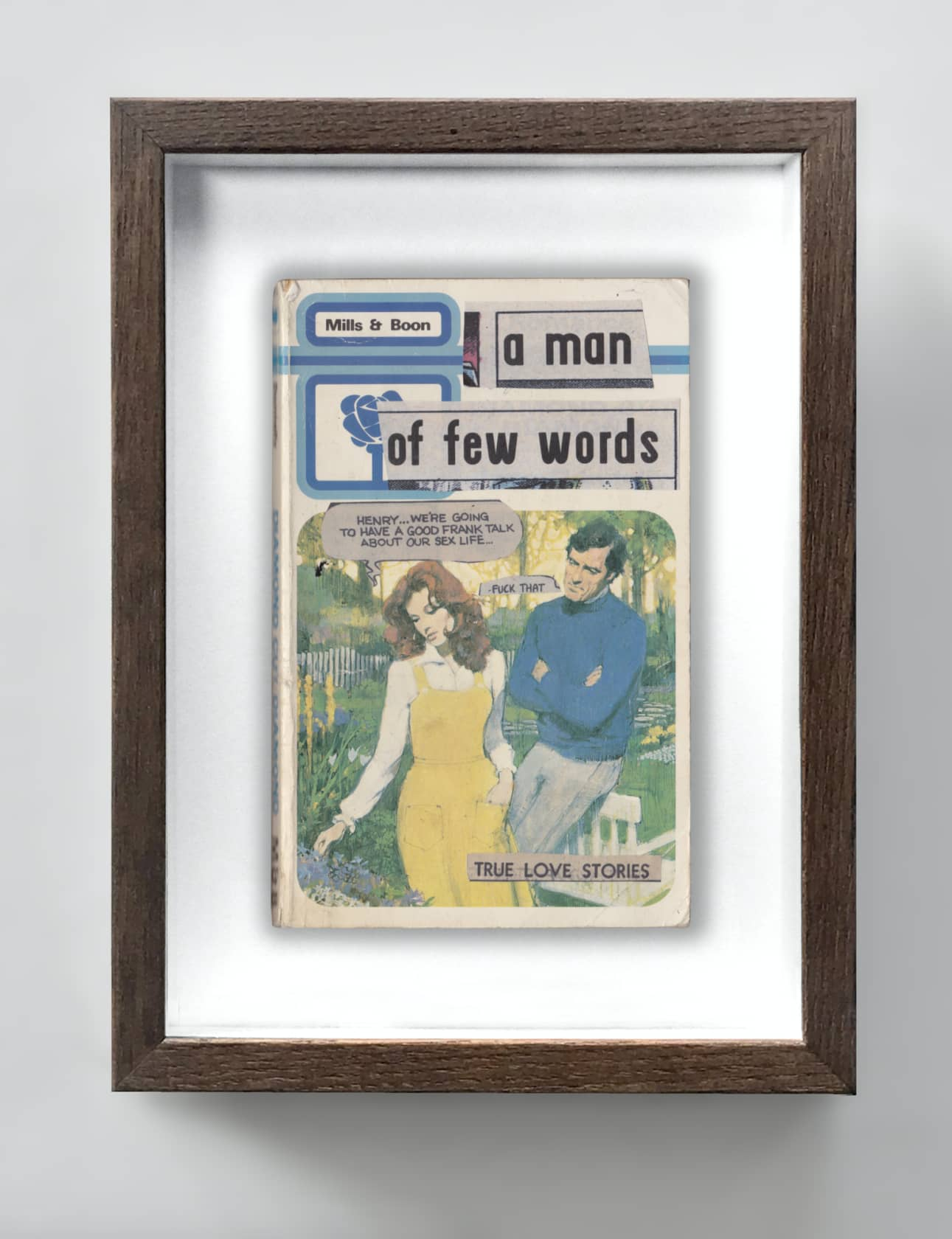 the connor brothers A Man Of Few Words Collage on vintage paperback book