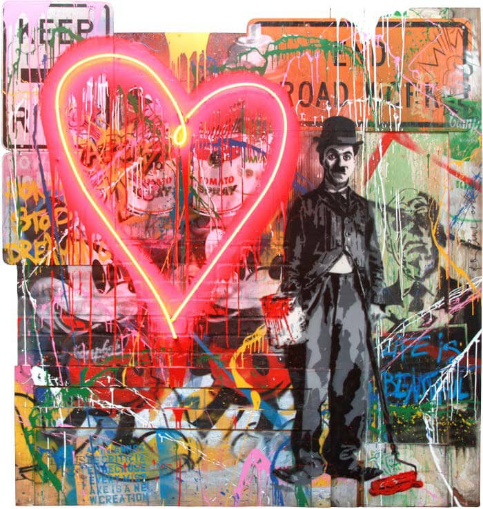 Mr Brainwash Chaplin Neon Lightbulb Mixed Media on Street Signs and Fiberglass Brick Wall