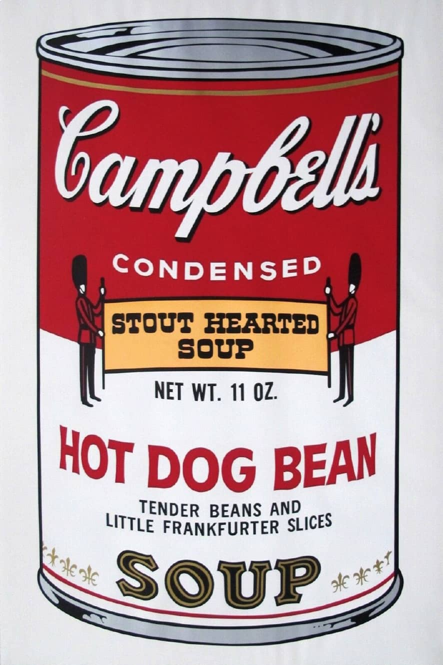 Andy Warhol Campbell's Soup II: Hot Dog Bean (FS II.59) Silkscreen Print in Colours on Paper