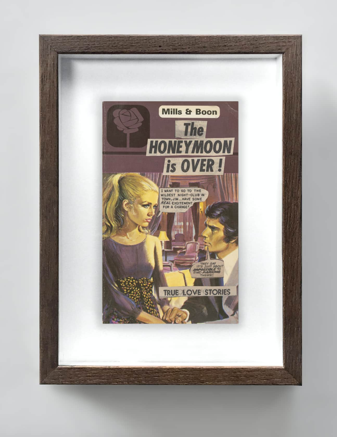 the connor brothers The Honeymoon Is Over (Purple) Collage on vintage paperback book