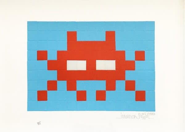 Invader Invasion Red Screenprint
