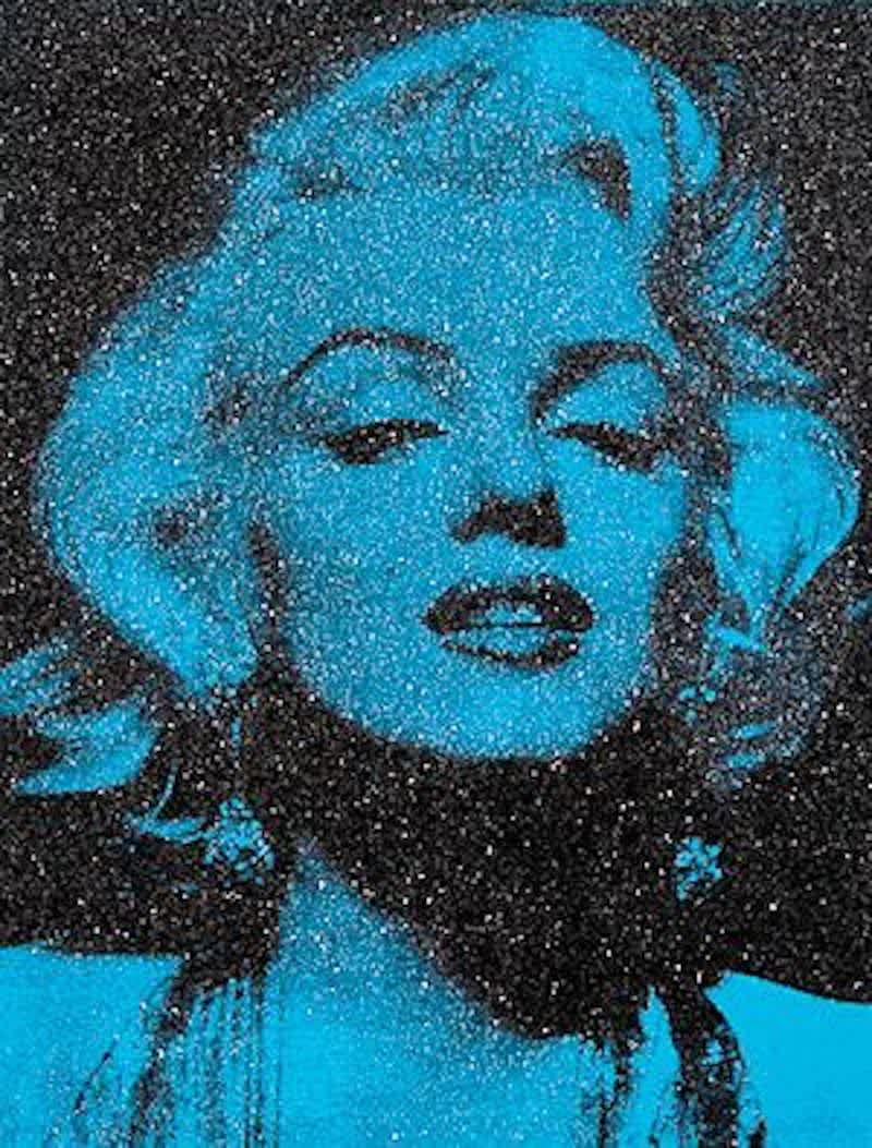 Russell Young Marilyn Portrait California (Venice Blue) Enamel and Diamond Dust Screenprint on Linen