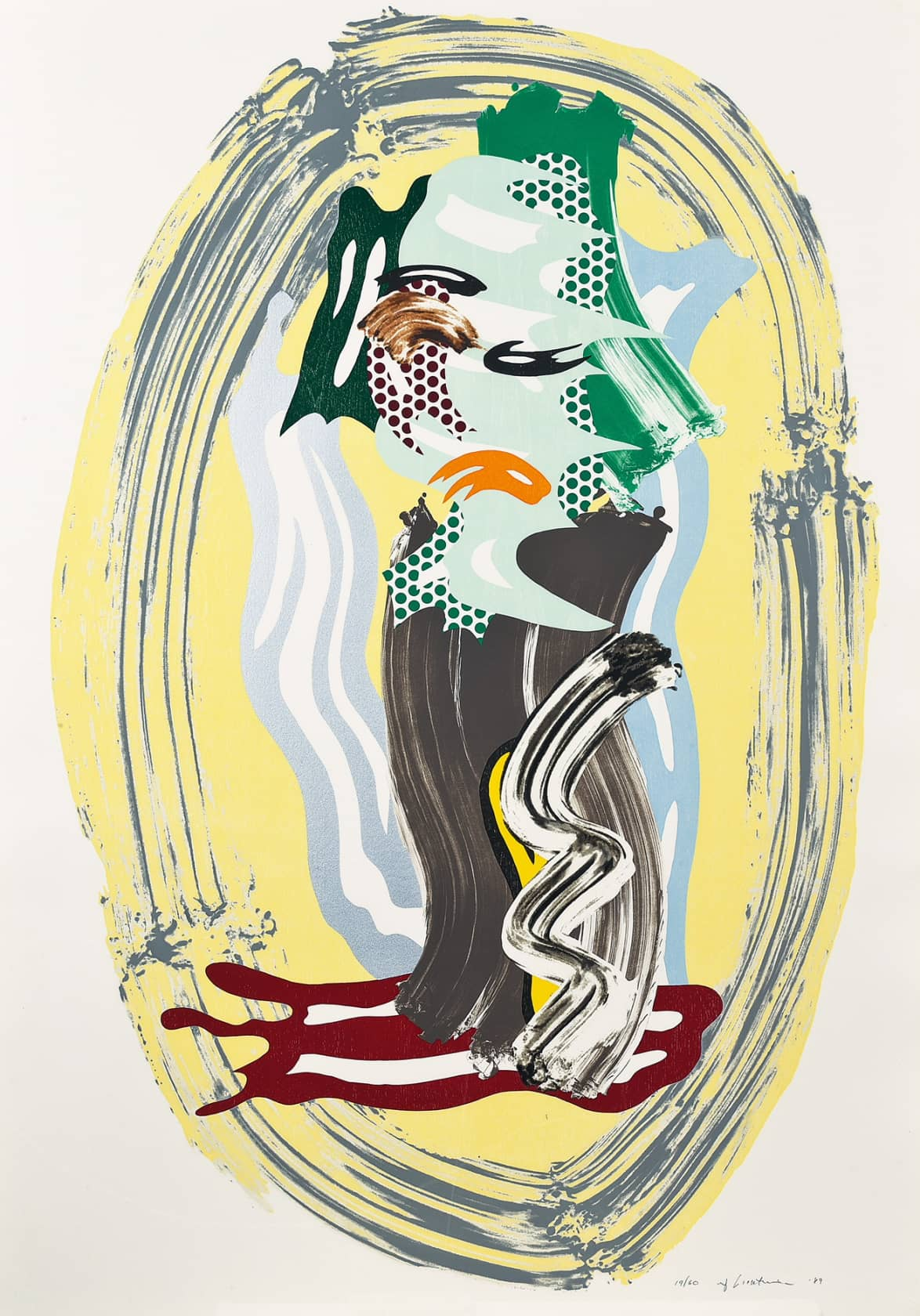 Roy Lichtenstein Green Face from Brushstroke Figure Series Lithograph, Wax Type, Woodcut and Screenprint on Cold-Pressed Saunders Paper