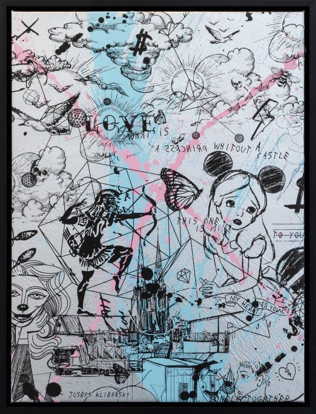 Joseph Klibansky Behind the Clouds Silver/Black and Light Blue and Pink Splash Silkscreen and Acrylic on Canvas