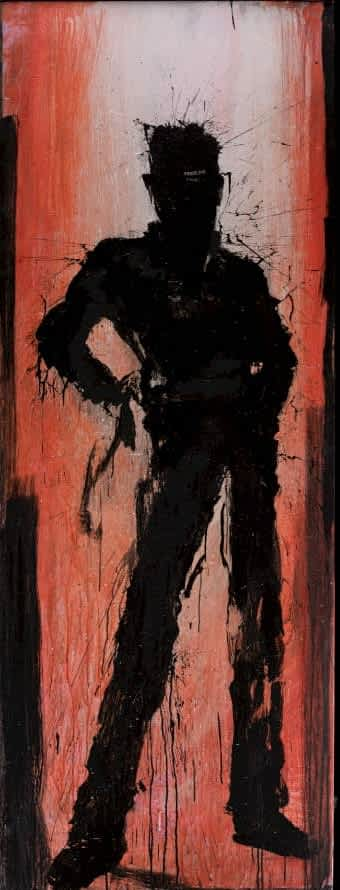Richard Hambleton Standing Shadow with Orange/Pink Oil on Canvas