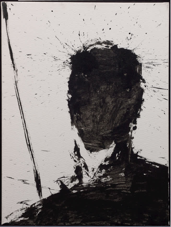 Richard Hambleton Shadow Head With White Background Oil on Canvas