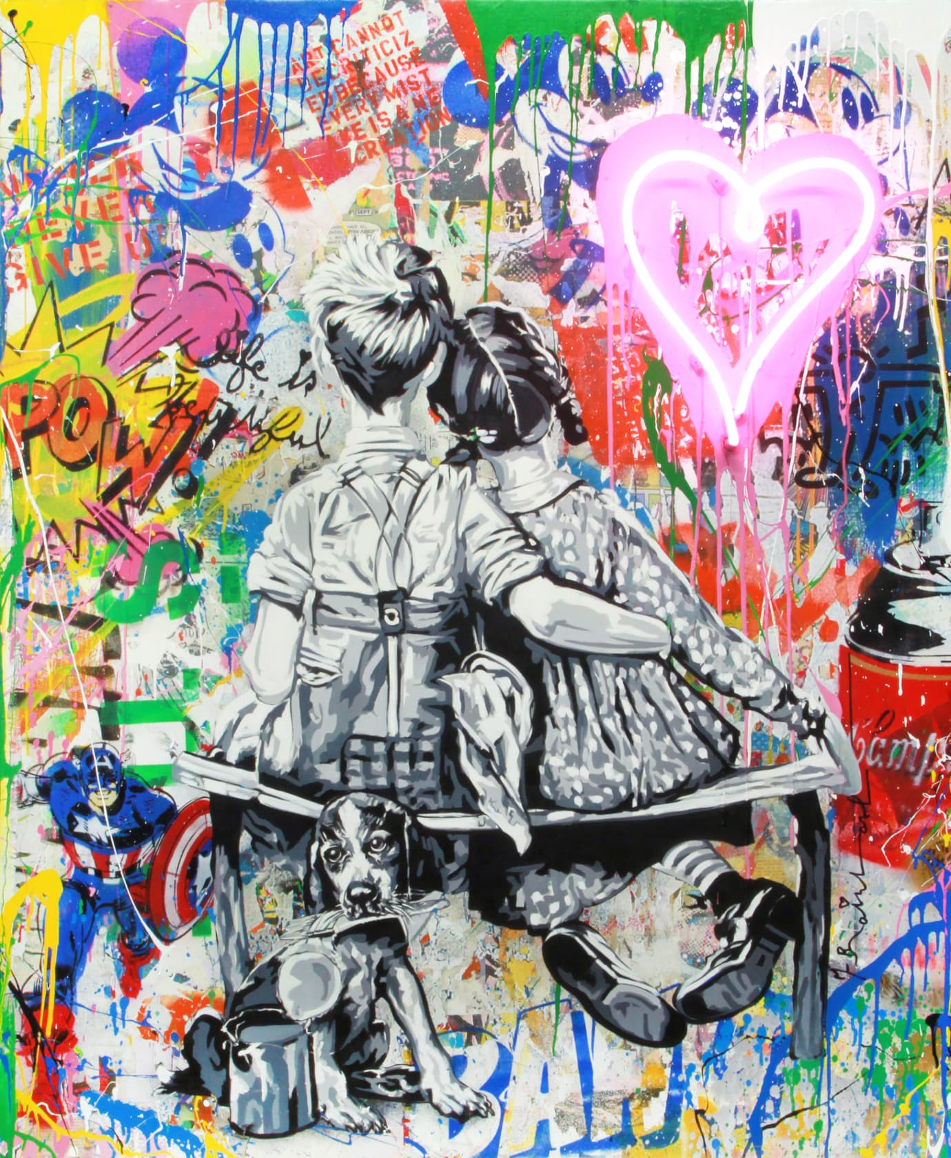 Mr Brainwash Work Well Together Neon Lightbulb and Mixed Media on Canvas