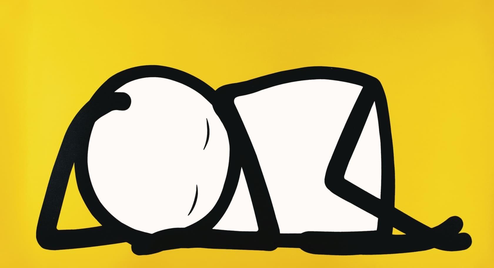 STIK Sleeping Baby, Yellow Screenprint