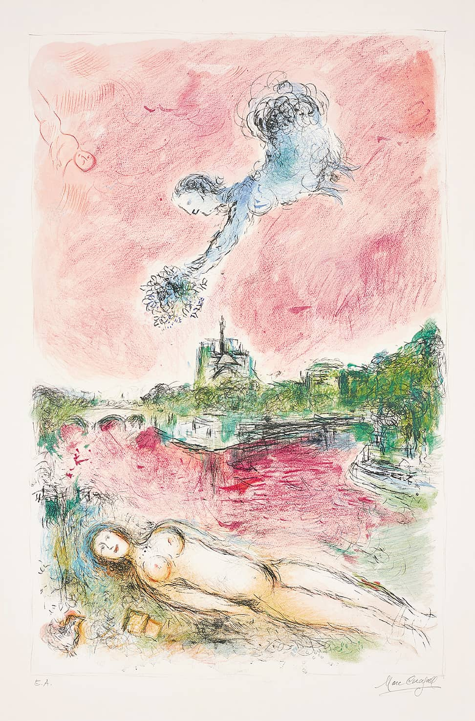 Marc Chagall Vue de Notre-Dame Lithograph in colours on arches paper with full margins