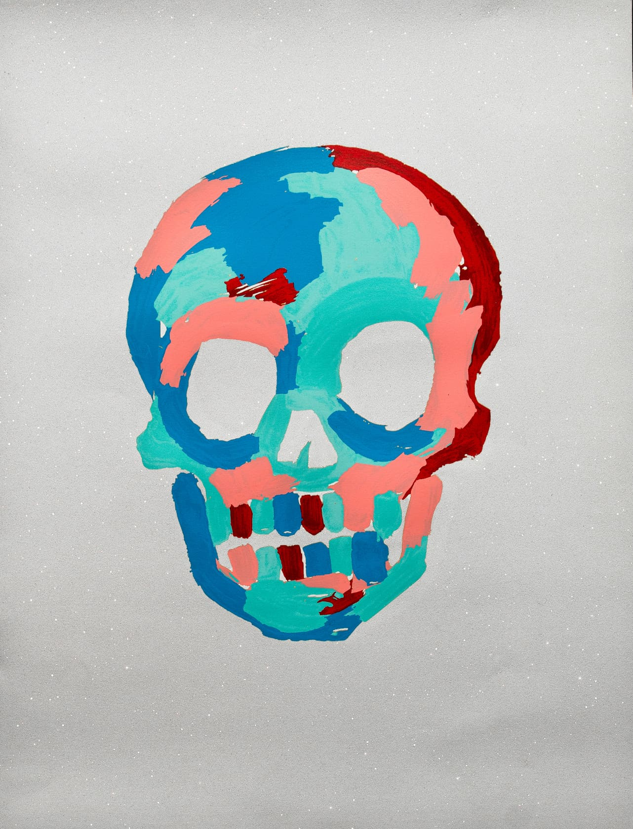 Bradley Theodore Skull - White Silkscreen Print with Diamond Dust on 100% Cotton Archival Paper