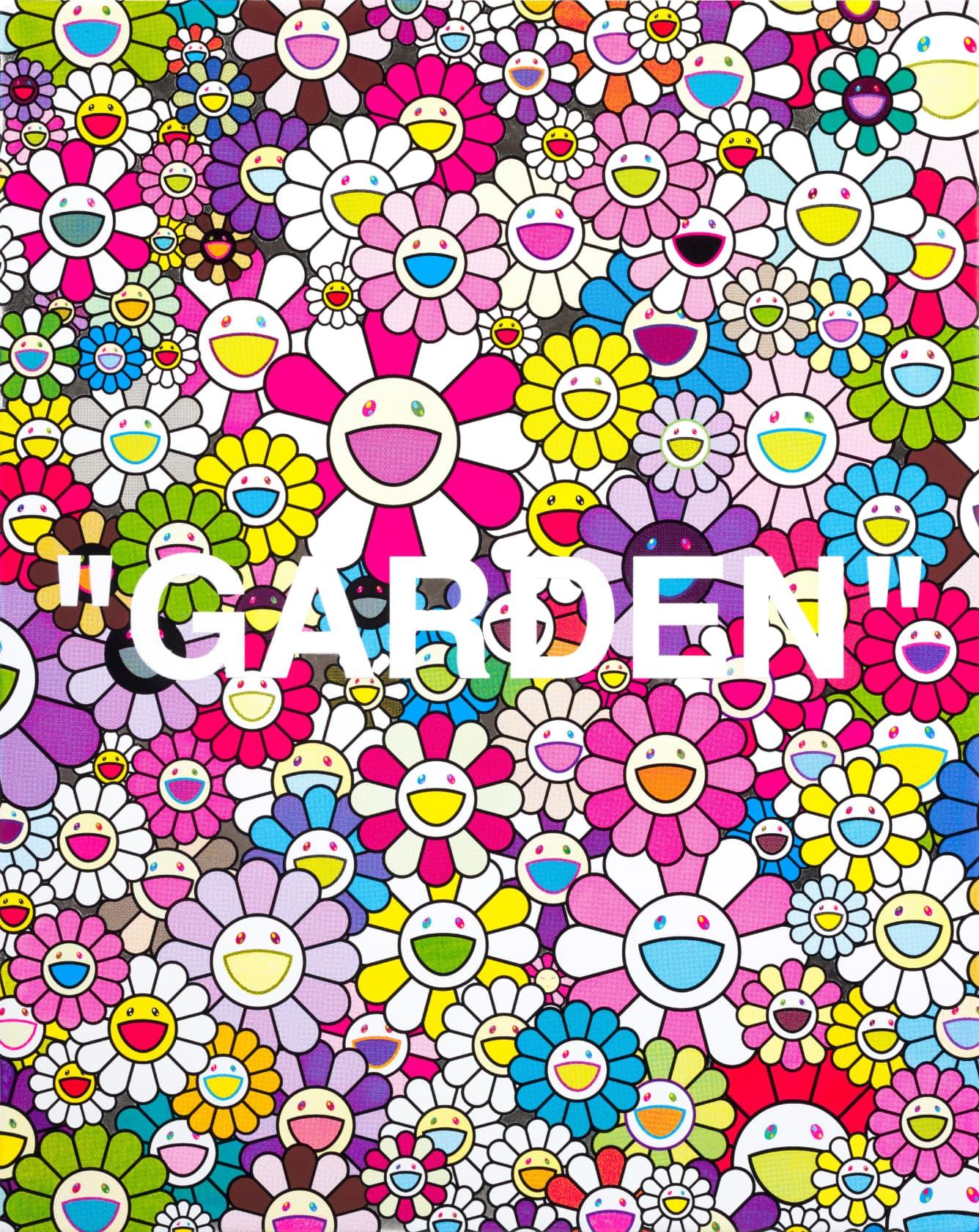 Takashi Murakami Garden (White) Acrylic and Platinum Leaf on Canvas
