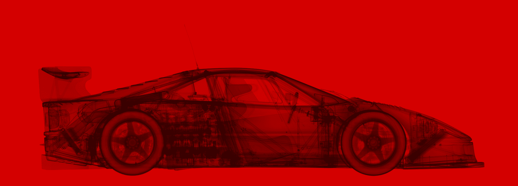 Nick Veasey 1945 Ferrari F40 GTE Rosso Corsa Red Diasec C-Type Print onto Dibond with Plexi Face