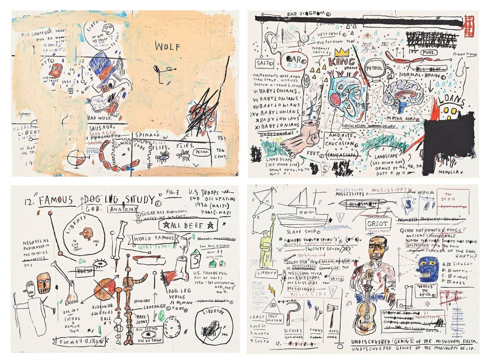 Jean-Michel Basquiat Wolf Sausage, King Brand, Dog Leg Study, Undiscovered Genius Screenprints