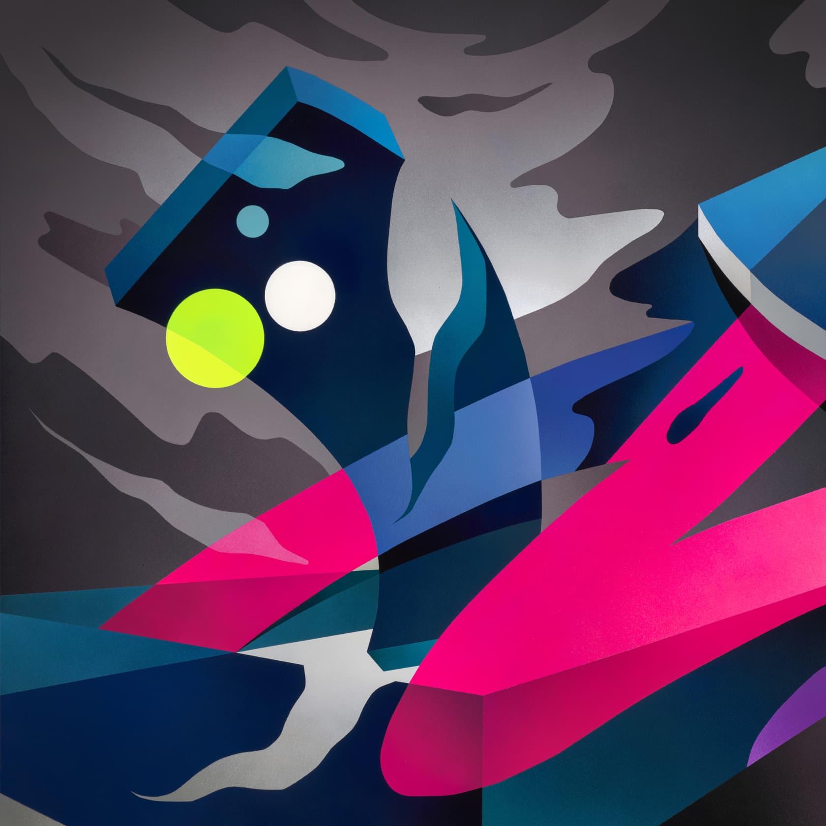 Mikael B Night Light #2 Spray Paint on Canvas